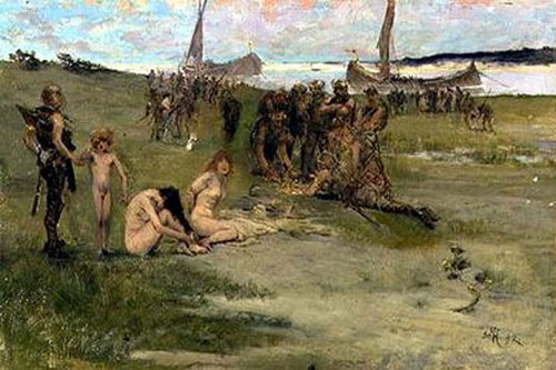 Vikings take Irish women as slaves.