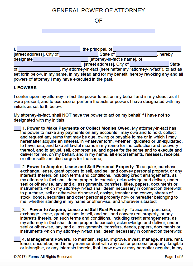 Free printable general power of attorney forms general power of attorney falaconquin
