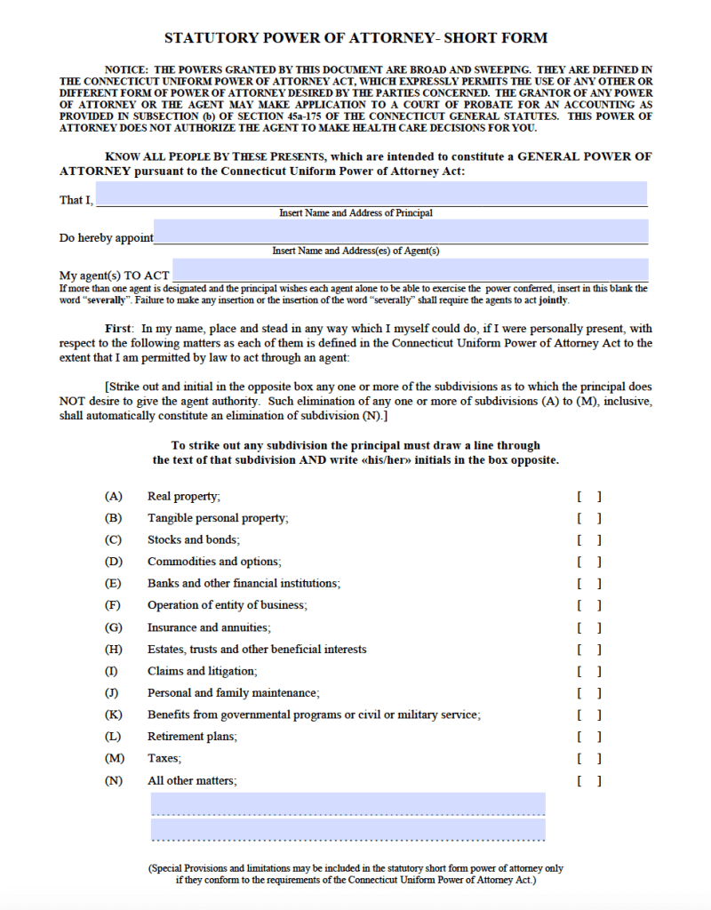 Free durable power of attorney connecticut form pdf ct durable short form poa form revised 2016 falaconquin