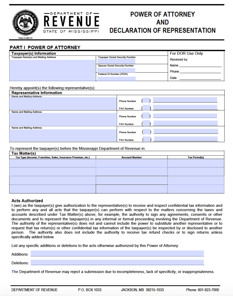 Free tax power of attorney mississippi form adobe pdf mississippi tax power of attorney form 21 002 13 falaconquin