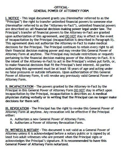 Free General Power Of Attorney Alaska Form  Pdf  Word
