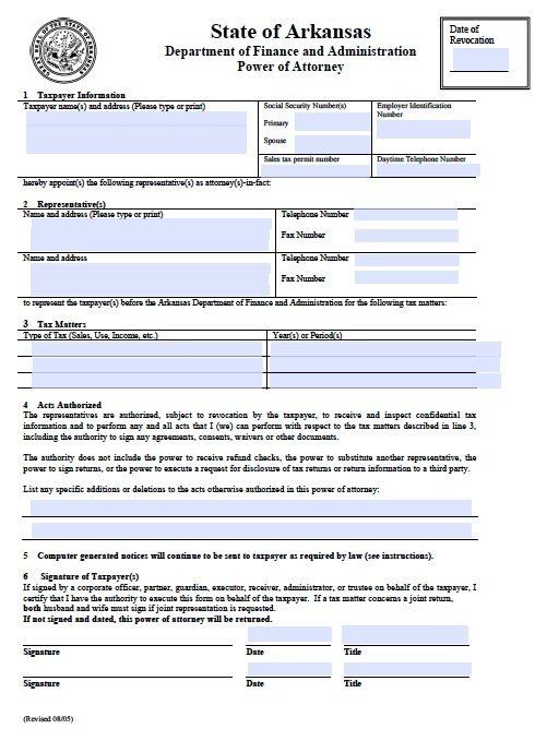 power of attorney arkansas Free Tax Power of Attorney Arkansas Form – Fillable PDF