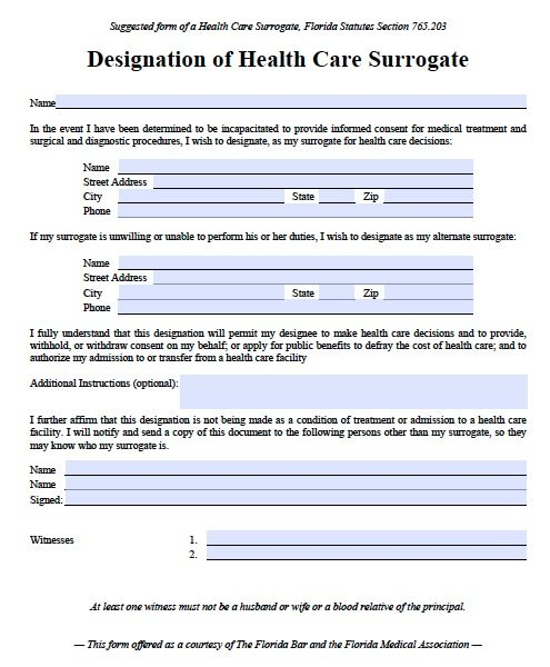 Free Medical Power Of Attorney Florida Form Pdf Template