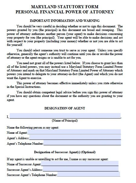 power of attorney form maryland Free Durable Power of Attorney Maryland Form – Adobe PDF