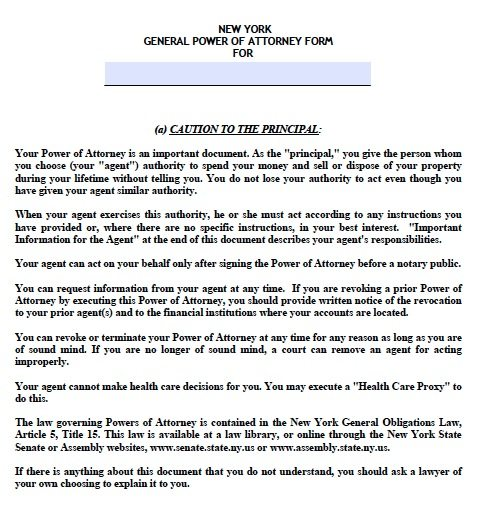 New York General Power Of Attorney Form