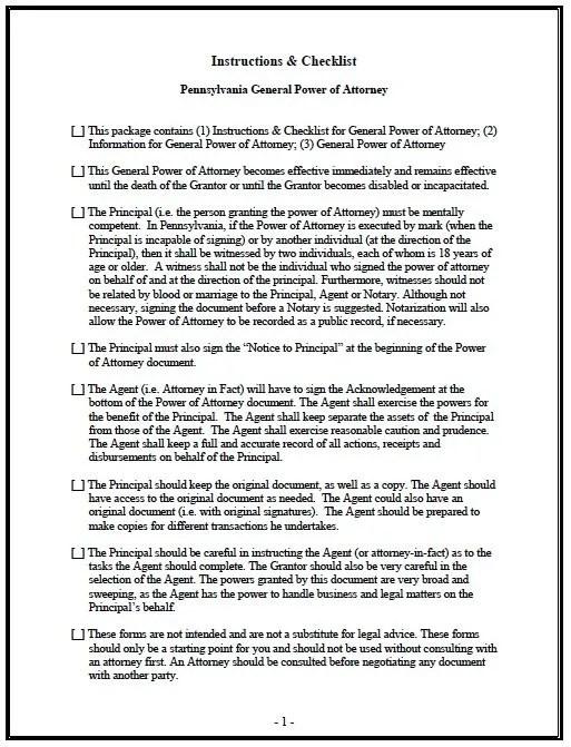 general power of attorney form pdf Free General Power of Attorney Pennsylvania Form – Adobe PDF