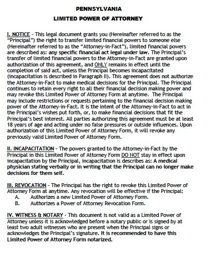 Pennsylvania Limited Power of Attorney Form