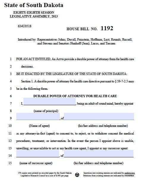 South Dakota Medical Power of Attorney