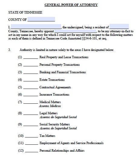 Tennessee General Power Of Attorney Form