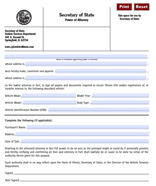 Motor Vehicle POA Form