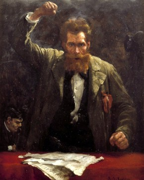 """""""Der Sozialist""""; Gemälde / Öl auf Holz von Robert Köhler, 1885, 39,7 x 31 cm Original: Berlin, Deutsches Historisches Museum / 1989/1144 Standort bitte unbedingt angeben!; Foto: Jürgen Liepe;"""