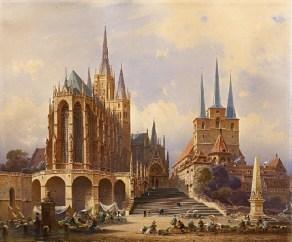 Friedrich_Eibner_-_Der_Erfurter_Domplatz_mit_Severikirche_1876