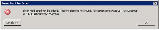 PowerPivot Element Not Found Error