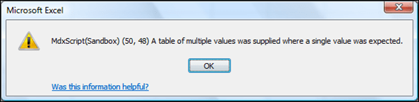 MDXScript(Sandbox) A table of multiple values was supplied where a single value was expected