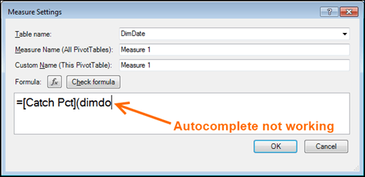 PowerPivot autocomplete is NOT working