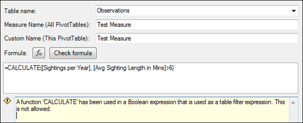 A function 'CALCULATE' has been used in a Boolean expression that is used as a table filter expression. This is not allowed.