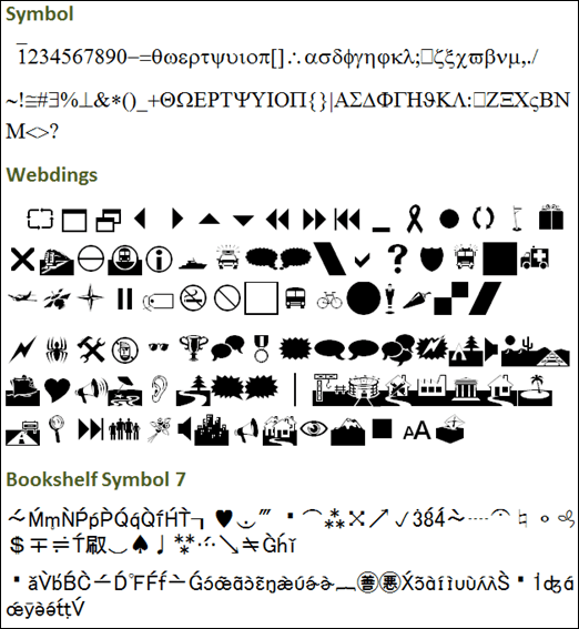 Use in Slicers:  Symbol, Webdings, and Bookshelf Symbol 7 (Again, Typeable Chars Only)