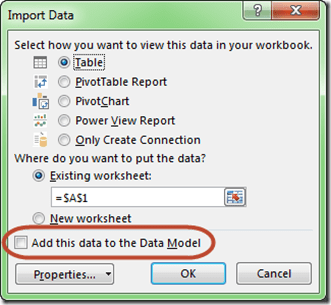 Access Single Table Import Data Model Option Highlighted