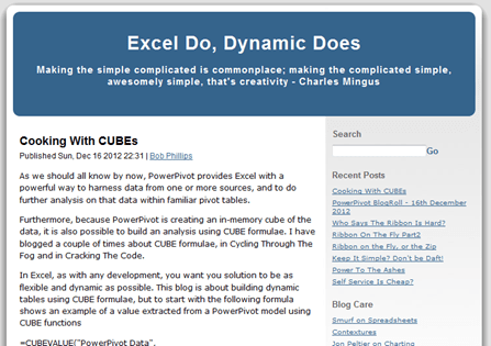 Click to Read Bob Phillips, Excel MVP, Writing About Cube Formulas in PowerPivot