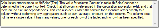 cannot be determined in the current context.  Check that all columns referenced in the calculation expression exist, and that there are no circular dependencies.