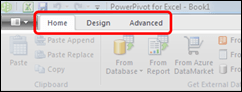 Power Pivot Home, Design and Advanced ribbon tabs