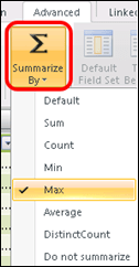 Power Pivot Summarize By