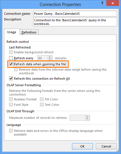 Have the query updated automatically every time the workbook is opened