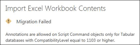 Annotations are allowed on Script Command objects only for Tabular databases with CompatibilityLevel equal to 1103 or higher.