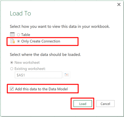 Power Query Load To