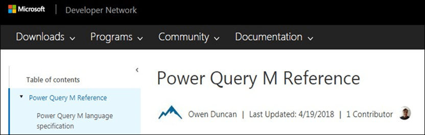 Power Query M Reference