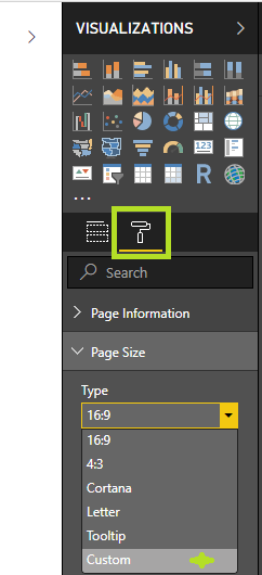 Visualizations in Power BI Dashboard 2 format page size