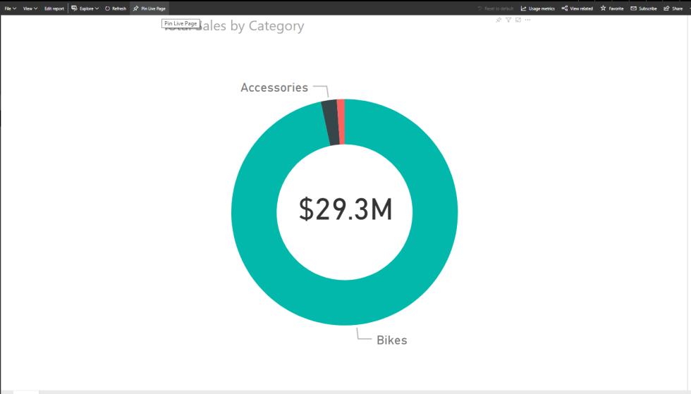 Visualizations in Power BI Dashboard Pin Live Page