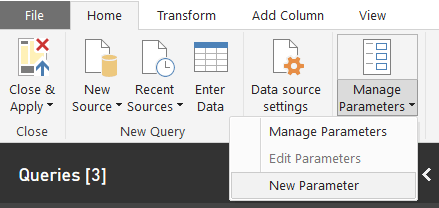 Parameter for dataflows: create new parameter