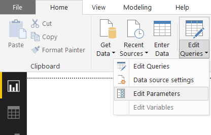 parameters for dataflows: Home: Edit Queries: Edit Parameters