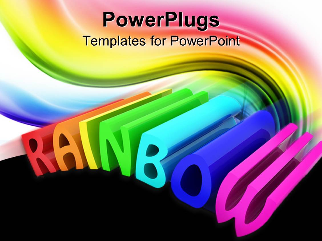 Powerpoint Template The Word Rainbow Being Written In A