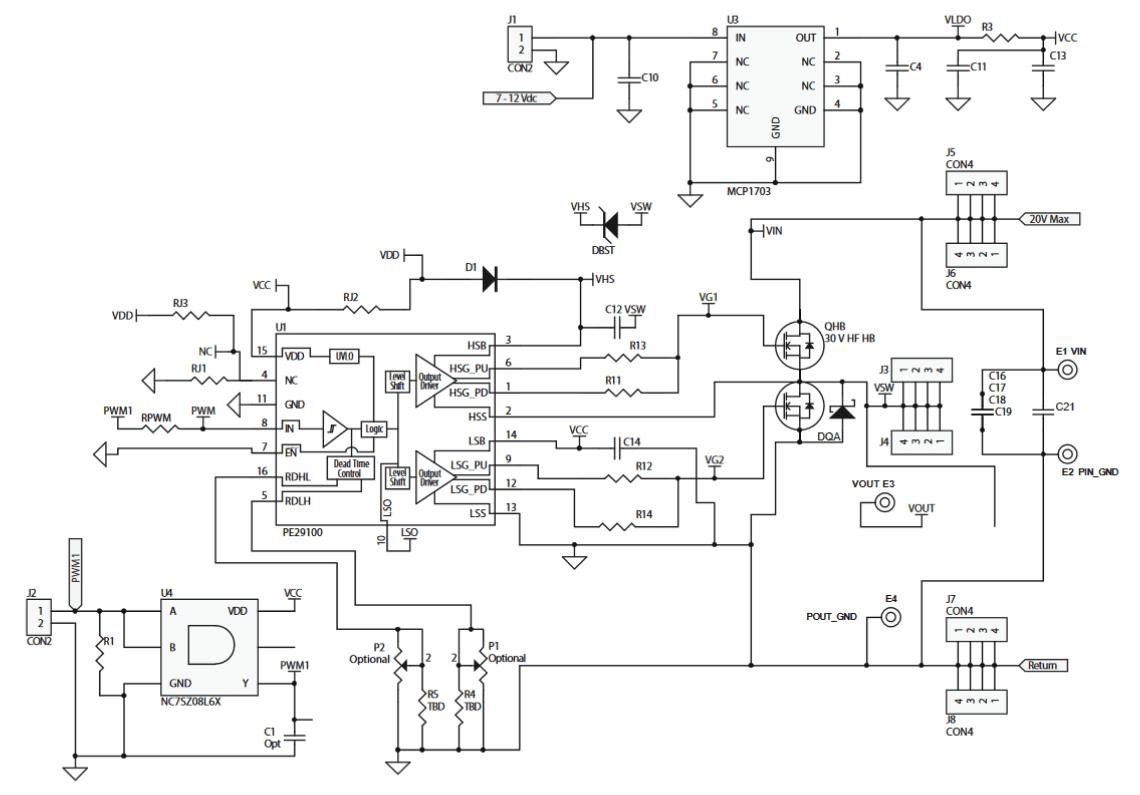 12v to load dc dc dev board features 10mhz gan half bridge