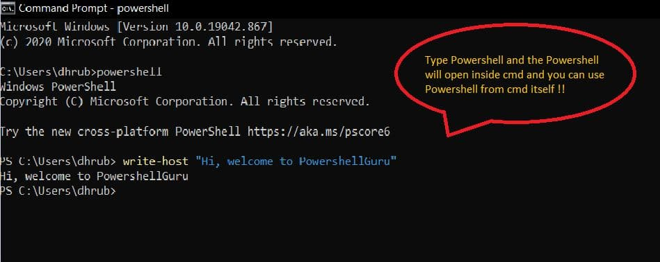powershell and cmd