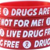 100-Live-Drug-Free-Wristbands-Drugs-Are-Not-For-Me-Bracelets-with-Red-Ribbon-0
