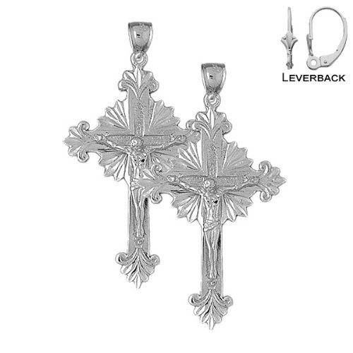 14K-White-Gold-52mm-Budded-Glory-Crucifix-Leverback-Earrings-Approx-116-grams-0