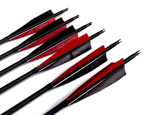 Best-selling-Black-Archery-31-Carbon-Fiber-HuntingTargeting-Arrows-Fletching-5-Black-Red-Peltate-Shape-True-Feathers-With-Replacement-Screw-in-Field-Points-0