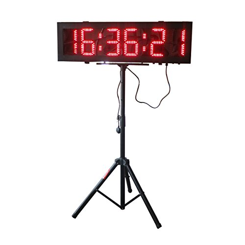 Double-Sided-LED-Race-Timing-Clock-Door-Open-Mantainence-Design-IP64-Cabinet-6-High-Character-Hours-Minutes-Seconds-Format-Running-Events-Timing-Clock-with-Tripod-Wireless-RF-Control-0-0