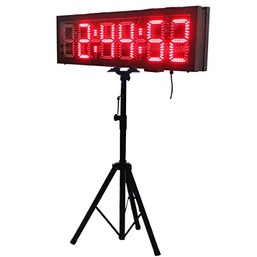 Double-Sided-LED-Race-Timing-Clock-Door-Open-Mantainence-Design-IP64-Cabinet-6-High-Character-Hours-Minutes-Seconds-Format-Running-Events-Timing-Clock-with-Tripod-Wireless-RF-Control-0
