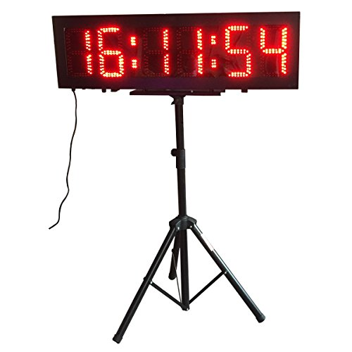 Double-Sided-LED-Race-Timing-Clock-Door-Open-Mantainence-Design-IP64-Cabinet-8-High-Character-Hours-Minutes-Seconds-Format-Running-Events-Timing-Clock-with-Tripod-Wireless-RF-Control-0-0