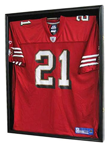 FootballBaseball-Jersey-Display-Case-Frame-Shadow-box-with-ULTRA-CLEAR-98-UV-Protection-Black-Finish-JC01-BL-0