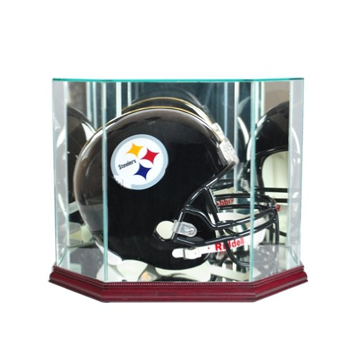 Full-Size-Football-Helmet-Display-Case-Glass-Top-with-Octagon-Cherry-Base-Made-In-America-0