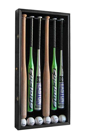 PRO-UV-PROTECTION-6-Baseball-Bat-Display-Case-Holder-Rack-Cabinet-with-lockable-door-B66-BLA-0