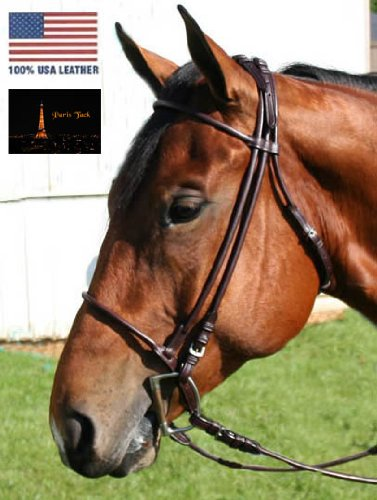 Paris-Tack-Opulent-Series-Rolled-USA-Leather-Dressage-English-Horse-Show-Bridle-with-Rolled-Reins-50-Off-Super-Sale-0