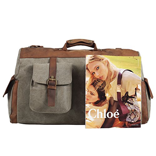 Polare-Genuine-Leather-Canvas-Travel-Bag-Weekend-Bag-Duffel-BagGym-Bag-0-1