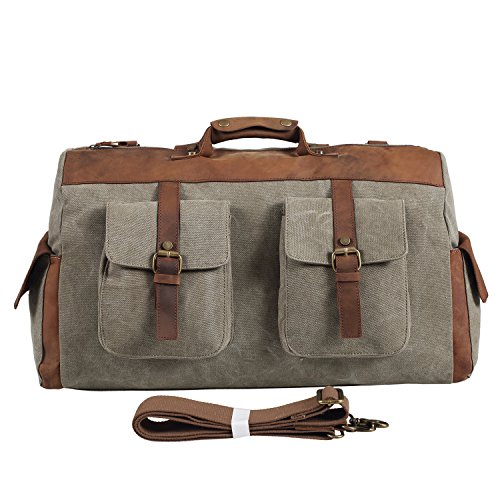 Polare-Genuine-Leather-Canvas-Travel-Bag-Weekend-Bag-Duffel-BagGym-Bag-0