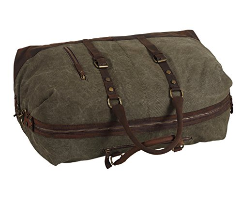 Polare-Large-Modern-Military-Sports-Canvas-Real-Leather-Travelling-Gym-Bag-Weekend-Bag-Overnight-Duffle-Bag-0-1